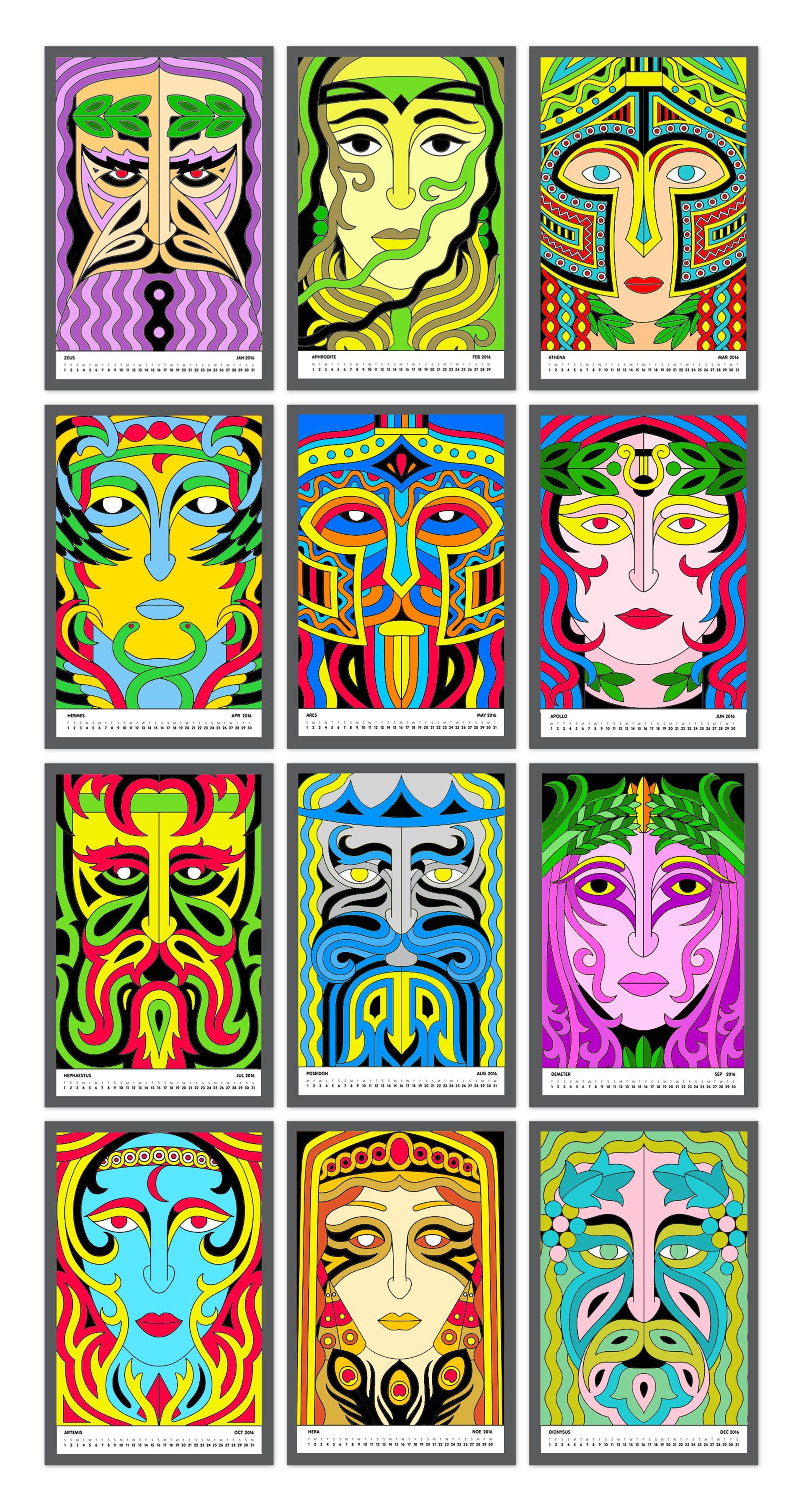 Calendar Design God : Coloring calendar greek gods designpark